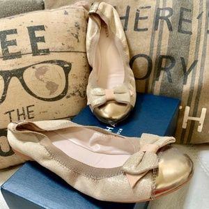 newCole Haan Ballet Flats Gold Metallic Suede
